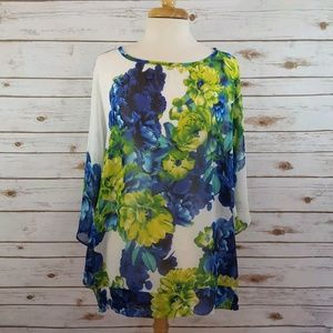 Susan Graver   Sheer Floral Rhinestone Blouse Blue